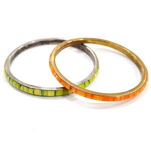 Jewelry - Vintage Set Pair Green Orange Dyed Shell Bracelets